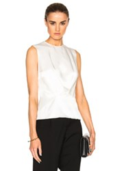 Thierry Mugler Satin Crepe Top In White