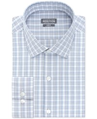 Kenneth Cole Reaction Slim Fit Performance Blue Crystal Check Dress Shirt