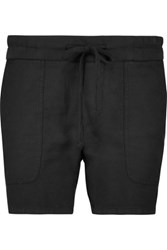 James Perse Woven Cotton And Linen Blend Shorts Black
