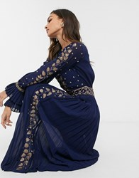 Frock And Frill Embellished Detail Long Sleeve Maxi Dress Navy