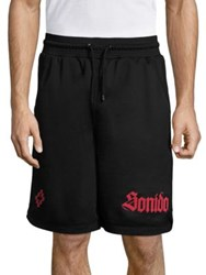 Marcelo Burlon Santos Textured Shorts Black Red