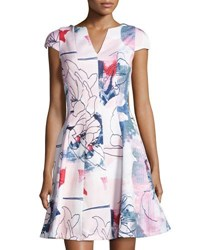 Julia Jordan Cap Sleeve Floral Print Fit And Flare Dress Pink Pattern