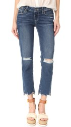 Paige Miki Straight Jeans With Distressed Hem Dedee Destructed
