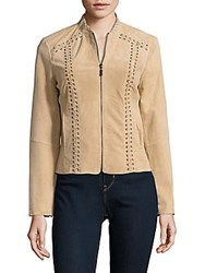 Saks Fifth Avenue Black Lace Up Leather Jacket Beige