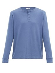 Onia Miles Long Sleeved Cotton And Modal Henley Top Blue