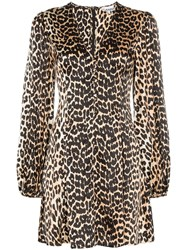 Ganni Blakely Leopard Print Silk Mini Dress Brown