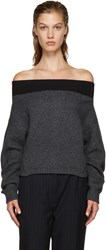 Opening Ceremony Grey Off The Shoulder Sweater
