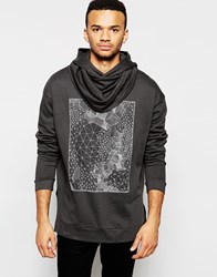 Asos Longline Oversized Hoodie With Geo Print And Drapey Funnel Washedblack