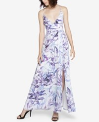 Fame And Partners Backless Strappy Maxi Dress Blue Leaves