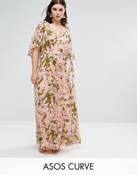 Asos Curve Floral Pleated Flutter Sleeve Maxi Dress Multi