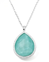 Stella Large Teardrop Pendant Necklace In Turquoise Double With Diamonds Ippolita