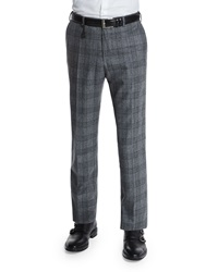 Incotex Standard Fit Plaid Flannel Trousers Gray