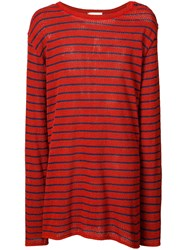 Faith Connexion Striped Oversized Jumper Red