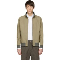 Harris Wharf London Beige Harrington Bomber Jacket