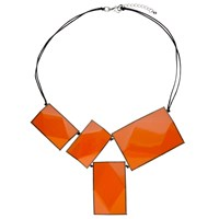 One Button 4 Large Rectangular Facets Necklace Orange