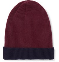 Brunello Cucinelli Reversible Ribbed Cashmere Beanie Burgundy