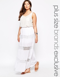Alice And You Lace Insert Maxi Skirt Cream