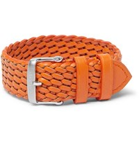 Tom Ford Woven Leather Watch Strap Orange