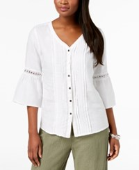 Jm Collection Linen Crochet Trim Bell Sleeve Blouse Created For Macy's Bright White
