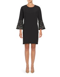 Belle By Badgley Mischka Jagger Three Quarter Sleeve Embellished Shift Dress Black
