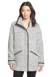Kristen Blake Stand Collar Brushed Tweed Coat Grey Tweed