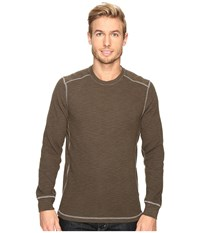 True Grit Softest Slub Waffle Thermal Long Sleeve Side Panel Crew With Contrast Stitch Jeep Men's Clothing Tan