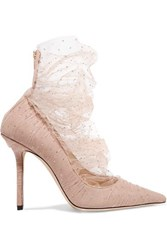 Jimmy Choo Lavish 100 Glittered Tulle And Suede Pumps Antique Rose