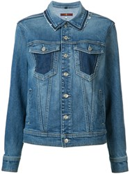 7 For All Mankind Raw Edge Collar Denim Jacket Blue