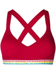 Emporio Armani Rainbow Elasticated Bra Red