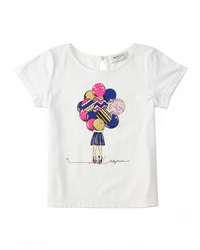 Milly Minis Milly Girl W Balloons Jersey Tee White Size 4 7