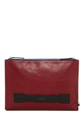 Ben Minkoff Double Snap Clarke Leather Pouch Red