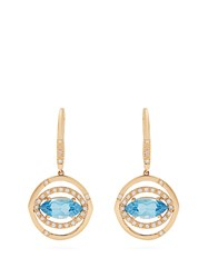 Susan Foster Diamond Topaz And Yellow Gold Earrings