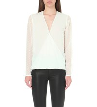 Reiss Faithful Textured Woven Top Off White