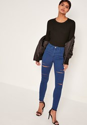 Missguided Blue Rebel High Waisted Thigh Slash Skinny Jeans