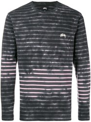 Stussy 11400960002 To Bleach Stripe Ls Crew Charcoal Grey