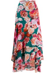 Pinko Long Tiered Floral Print Skirt 60