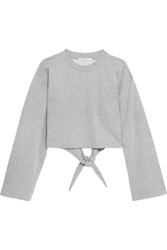 Alexander Wang T By Tie Back Cropped Cotton Blend Jersey Sweatshirt Light Gray
