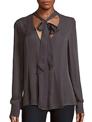 Ramy Brook Claire Long Sleeve Silk Top Gunmetal