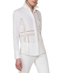 Akris Punto Geometric Lace Trim Blouse Beige