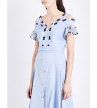 Peter Pilotto Lace Detailed Cropped Top Light Blue