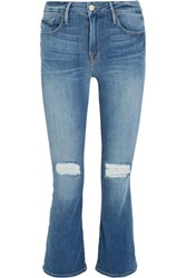 Frame Le Crop Mini Mid Rise Distressed Bootcut Jeans Mid Denim
