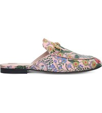 Gucci Princetown New Floral Leather Slippers Pink Comb
