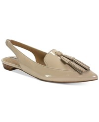 Tahari Paulina Slingback Pointed Toe Smoking Flats Women's Shoes Nude