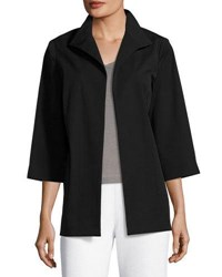 Ming Wang 3 4 Sleeve Open Front Jacket Black