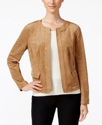 Charter Club Faux Suede Open Front Jacket Only At Macy's Burnt Russet