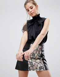 Traffic People High Neck Top With Bow Black