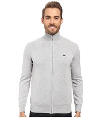 Lacoste Segment 1 Full Zip Jersey Sweater Silver Grey Chine Men's Sweater Gray