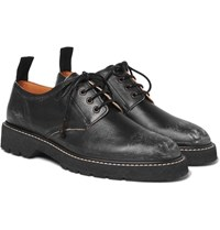 Maison Martin Margiela Distressed Leather Derby Shoes Black