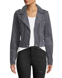 Candc California Suede Moto Jacket Charcoal