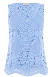 Oasis Deco Lace Shell Top Light Blue